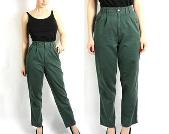 Vintage 80's Green High Waisted Tapered Leg Pants Trousers