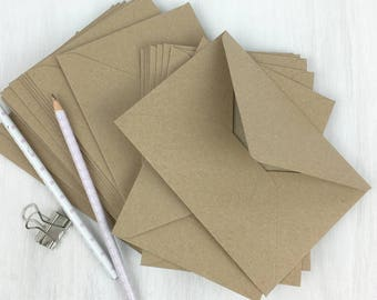"25 Kraft Envelopes 4x6 Envelopes C6 Envelopes A6 recycled  rustic wedding invitation envelopes/card making True Size 4.1/2 x 6.3/10"""