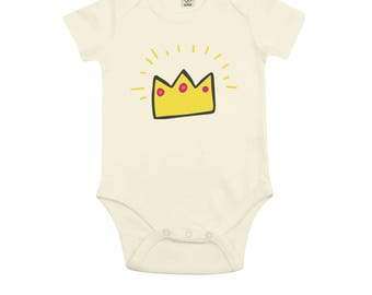 B02W organic Bodysuit, Bodysuit queen Bodysuit king gift of birth, Christmas gift, baby gift, name Bodysuit, baby clothes, Bodysuit, unisex, gift