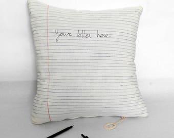 Hoja de papel, hoja cojín, carta cojín, folio cojín, escribe tu mensaje, regalo personalizado, papel pautado, escribe tus sueños