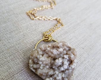 Large Diamond Shaped Beige Druzy on Long Gold Chain - perfect for layering, handmade necklace, druzy necklace, handmade jewelry, geometric