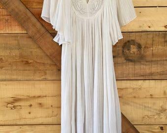 Vintage White Cotton Gauze Caftan Midi Dress