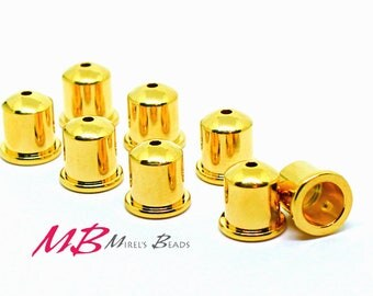 Tierra Cast Cupola End Caps 9mm, Gold Plated, Bracelet End, Kumihimo Style Bracelet End