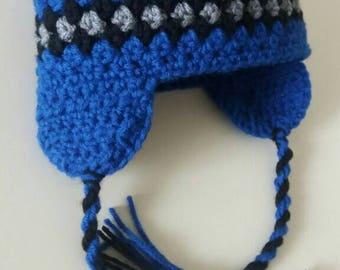 Baby Boy Crochet Hat, Boys Earflap Hat, Boys Winter Hat, Baby Earflap Hat, Newborn Earflap Hat, Boys Earflap Hat, Boys Crochet Hat, Toddler