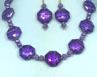 Purple and Gold Necklace Earrings Set