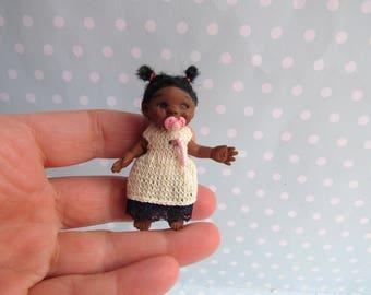 OOAK Baby GIRL doll. MOVEABLE Polymer clay artist doll. Handmade Dollhouse miniature doll. Art doll + Dummy