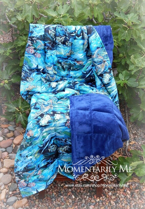 sale 20 off adult weighted blanket 8 20 lbs swimming fish. Black Bedroom Furniture Sets. Home Design Ideas