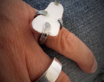 silver ring with seastone recycled
