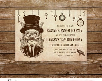 Escape room invites etsy for Escape room party
