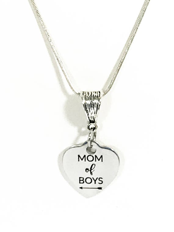 Gift For Mom, Mom of Boys Necklace, Silver Necklace for Mom, Boys Mom Gift, Mom of Boys Jewelry Gift, Mom Christmas Gift, Mom Gift Necklace