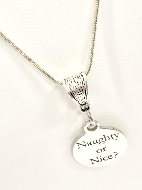 Naughty or Nice Necklace, Funny Christmas Necklace, Naughty Nice Jewelry, Fun Christmas Jewelry, Girlfriend Gift, White Elephant Gift