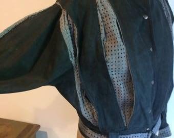 Vintage Pleated Perforated Gray & Black Suede Jacket 1980's