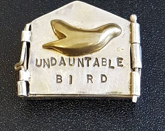 Undauntable Bird Brooch~Hand Stamped Locket/Pin~Sterling Silver 925 Artisan Jewelry~One of A Kind Gift~Mixed Metals Jewelry~JewelsandMetals