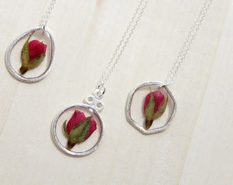 Red Rose Silver Circle Pressed Flower Necklace