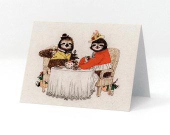 Sloth Tea Party Card