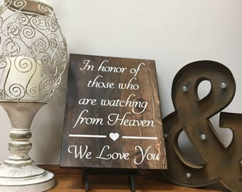 Memory Table Sign | In Honor Of Those Watching from Heaven | Wedding Decorations | Memorial Sign For Weddings | Heaven So Far Away