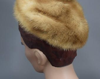 Fluffy Vintage 50s Honey Brown Mink Fur Beanie Cap Hat