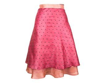 Silk Wrap Skirt, Wrap Skirt, Unique Clothing, Travel Skirt, Boho Skirt, Reversible Pink Skirt, Plus Size Skirt, Silk Wrap Skirt, Silk Skirt