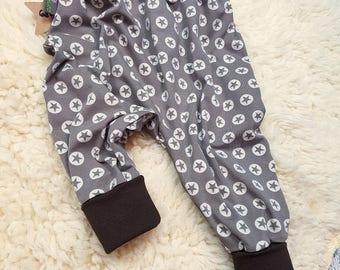 Pants, baby pants, baby, Mitwachsen trousers, harem trousers, harem trousers, Star, Star, star, stars, Brown, beige