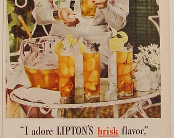 Lipton Tea Gracie Allen Iced Tea 1945 Print Ad