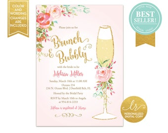 Brunch and Bubbly Bridal Shower Invitation - Bridal Brunch Invite - Wedding Shower Invitation - Mimosa Invitation - Printable - LR1050PK