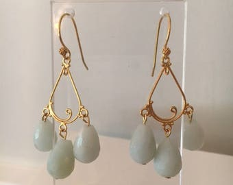 Amazonite and Gold Chandelier Earrings