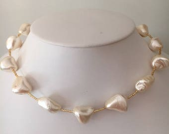 Pearl Nugget and Gold Necklace