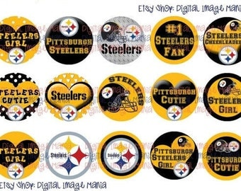 INSTANT Download Pittsburgh STEELERS Inspired 4x6 Digital Printable 1 Inch Circle Bottle Cap Images