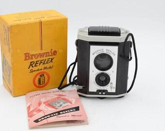 Kodak Brownie Reflex Twin-Lens 127 Camera 1941-52, With Original Packaging And Owner's Manual