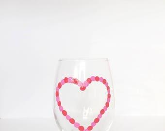 Valentine's Day//Heart stemless wine glass