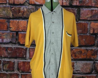 Rockabilly Mod Vintage 1960s Men's Button Up Knit Shirt