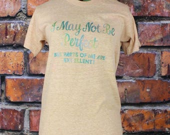 I May Not Be Perfect But Parts Of Me Are Excellent Vintage 1970s Glitter T-Shirt
