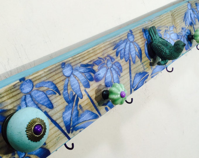Nursery wall decor woodland baby girl bedroom art hanging storage/ wood wall organizer 6 colorful towel hooks Rustic decor bird knob 5 knobs