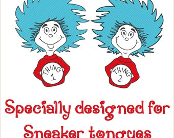 Thing 1 and Thing 2 embroidery design for sneaker tongues 2 inch size
