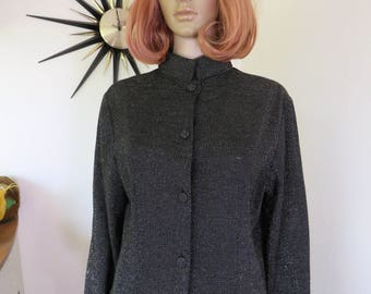 Vintage 1960s black nehru collar shirt with sparkly gold lurex thread as tiny dots throughout - by 'Marcia June Sydney'