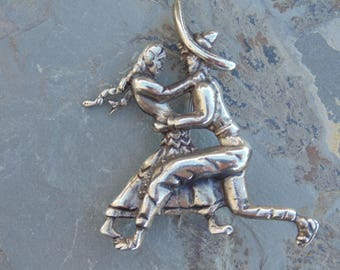 Vintage Mexican Sterling Folk Art Dancing Pin / Brooch c. 1940's