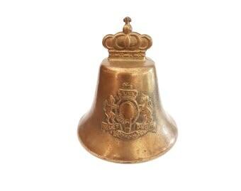 Antique heavy brass bell - Dieu et mon droit