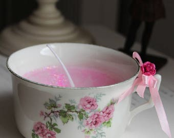 """Candle in a cup of China - pattern """"bouquet of roses"""" - Shabby chic style"""
