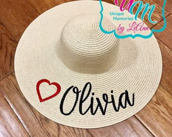 "CUSTOM ""YOUR NAME"" & Heart floppy Beach Hat, Name Hat, Bride Beach hat, Personalized Floppy Hat, Embroidred floppy hat, Beach Hat, Heart hat"