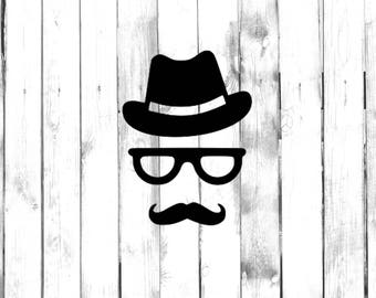 Top Hat with Glasses and Mustache - Di Cut Decal - Home/Laptop/Computer/Truck/Car Bumper Sticker Decal