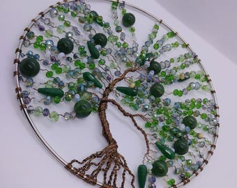 Tree of Life Wall/Window Decor, Jade, Agate, Crystal, Emeralds and Opalite