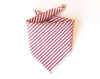 Tie On Red Seersucker Dog Bandana, Dog Scarf, tie bandana, pet bandana, doggy scarf , scarf for dogs