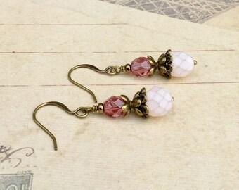 Pink Earrings, Rose Earrings, Dainty Earrings, Victorian Earrings, Bronze Earrings,Czech Glass Beads, Antique Gold Earrings, Womens Earrings