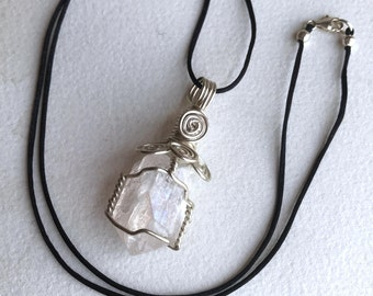 High-Vibration Danburite Crystal Pendant Wire Wrapped in .925 Sterling Silver