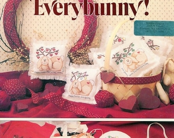 Thankful SALE 1990s Happy Holidays, Everybunny! Cross Stitch Leaflet Rabbit Bunny by  Kathy Rueger Leisure Arts 979