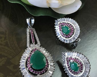 High quality AD,Ruby Emerald Pendant & Earring Set