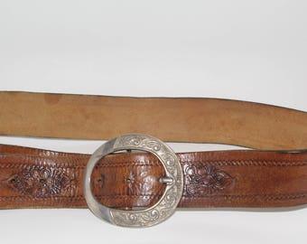 Polish Folk Belt Folk Art Vintage Floral Brown Handmade Tooled Natural Leather Embossed Tooled Silver Brass Buckle Belt Bohemian belt gypsy