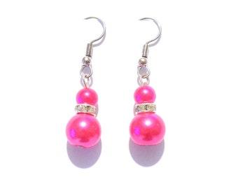 pink earrings, pearl earrings, dangle earrings, earrings, bridesmaid earrings, drop earrings, pink pearl earrings, beaded earrings