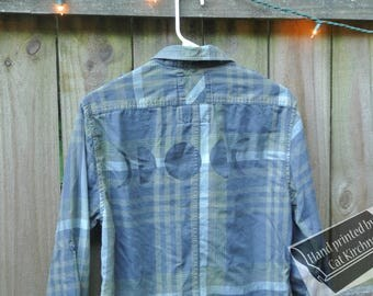 Moon Phase Green Plaid Top