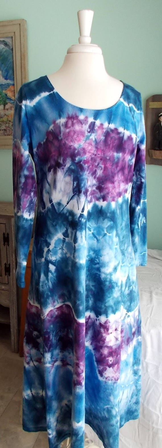 Large Ice dye tie dye Long Sleeve Cotton Dress